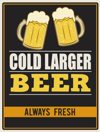 Cold larger beer. Poster in vintage style, vector illustration