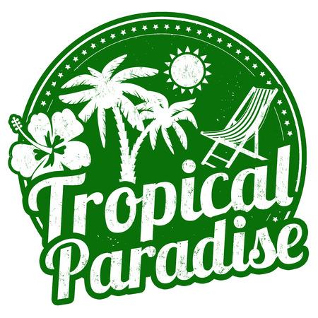 carribean: Para�so tropical de grunge sello de goma en el fondo blanco, ilustraci�n vectorial