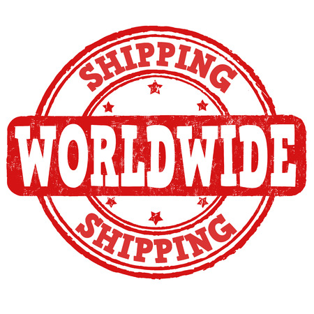 Shipping worldwide grunge rubber stamp on white, vector illustration Vector