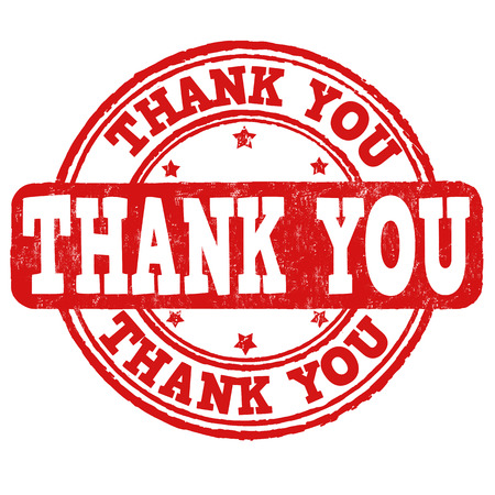 Thank you grunge rubber stamp on white, vector illustration Vector