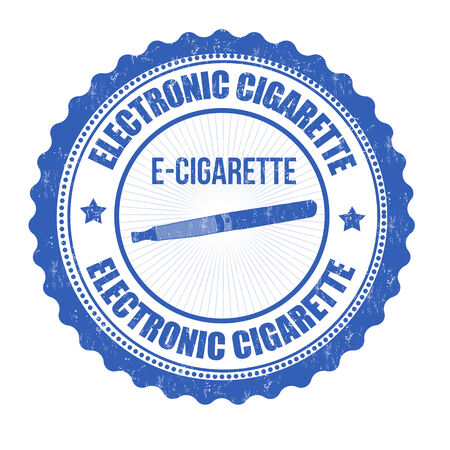 vaporizer: Electronic cigarette grunge rubber stamp on white, vector illustration