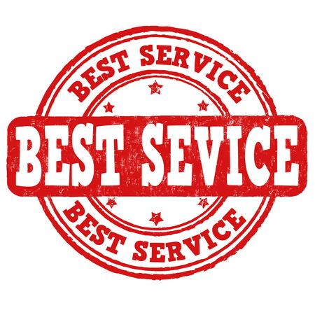 assured: El mejor sello de goma del grunge de servicio en blanco, ilustraci�n vectorial Vectores