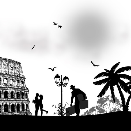 Couple silhouette in love in front of Colosseum in Rome , vector illustration