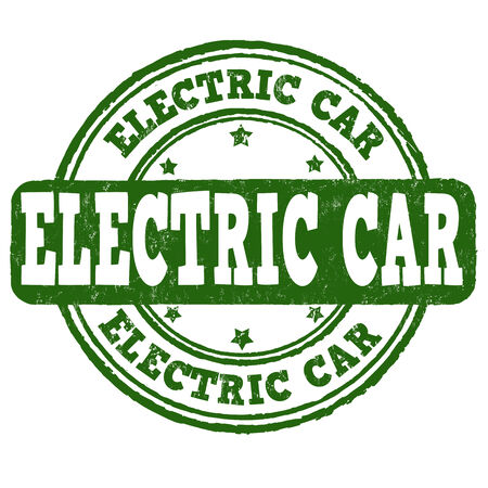 echnology: Electric car grunge rubber stamp on white, vector illustration