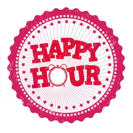 happy hours: Happy hour grunge rubber stamp on white, vector illustration