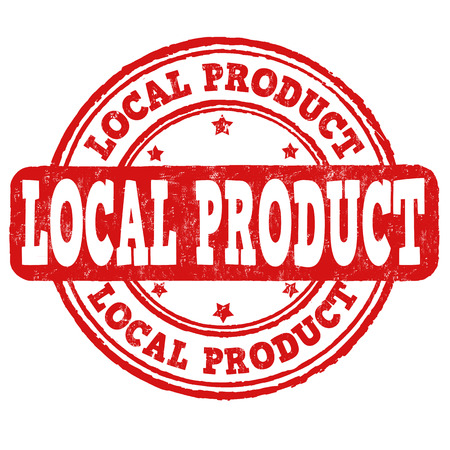 farm sign: Local product grunge rubber stamp on white, vector illustration