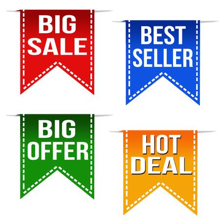 Big sale, best seller, big offer and hot deal ribbons set on white, vector illustration Vector
