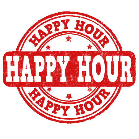advertising signs: Happy hour grunge rubber stamp on white, vector illustration