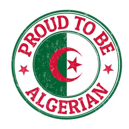 Algierski: Proud to be algierskich grunge pieczątka na białym, ilustracji wektorowych