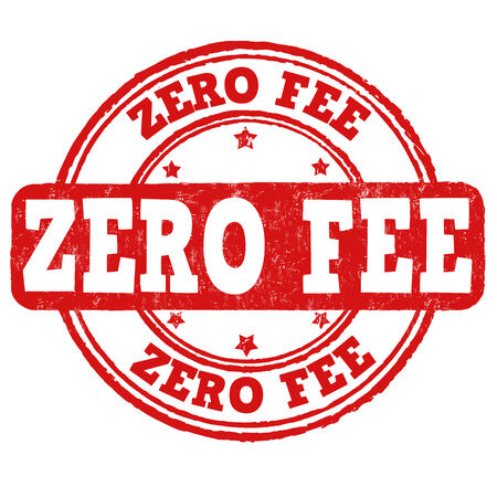 fee: Zero fee grunge rubber stamp on white, vector illustration