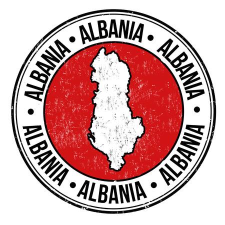 albanie: Tampon en caoutchouc grunge avec drapeau de l'albanie, la carte et le mot �crit � l'int�rieur Albanie, illustration vectorielle