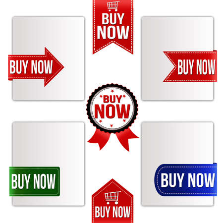 Buy now ribbons set on white, vector illustration Vector