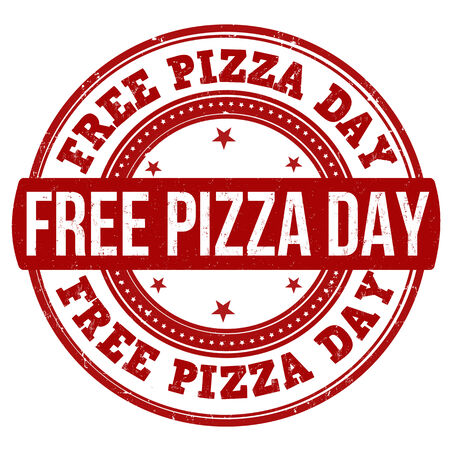 Free pizza day grunge rubber stamp on white, vector illustration Vector
