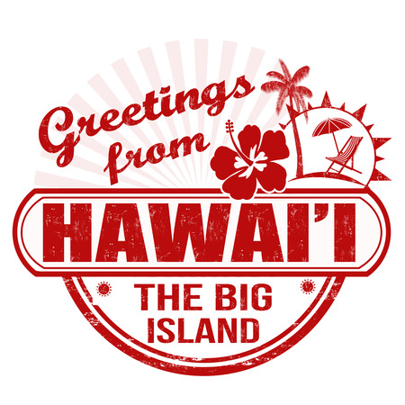 big island: Grunge rubber stamp with text Greetings from Hawaii, the big island on white, vector illustration Illustration