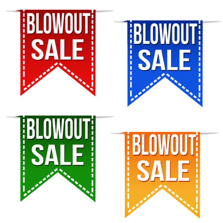 blowout: Blowout sale ribbons set on white, vector illustration