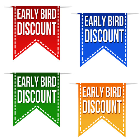Early bird discount ribbons set on white, vector illustration