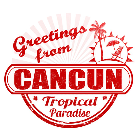 Grunge rubber stamp with text Greetings from Cancun on white, vector illustration Vector