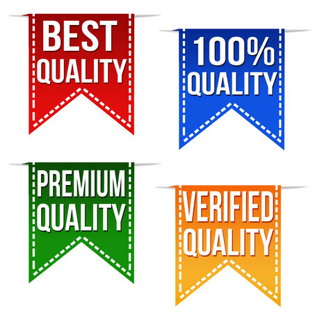 verified: Best quality, 100% quality, premium quality and verified quality ribbons set on white, vector illustration