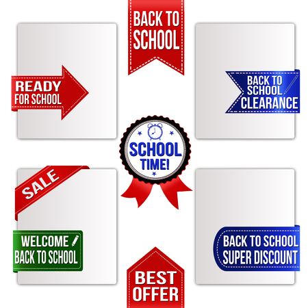 Collection of various back to school promo ribbons on white, vector illustration Vector
