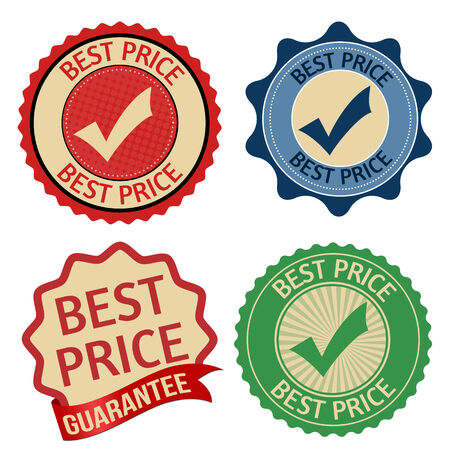 Promotional label, sticker or stamps for best price on white backgroung, vector illustration