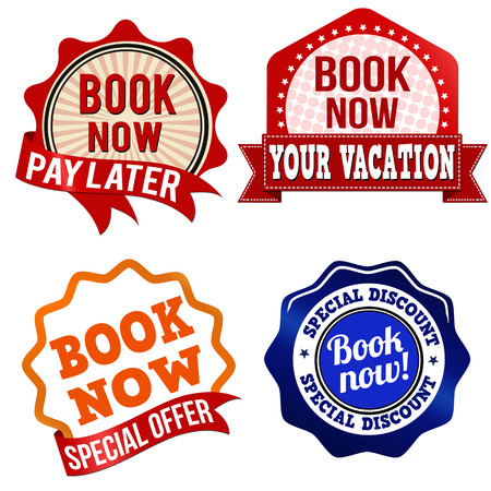 Promotional label, sticker or stamps for book now on white, vector illustration Vector