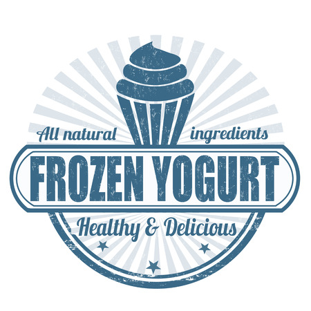 yogurt ice cream: Frozen yogurt grunge rubber stamp on white, vector illustration