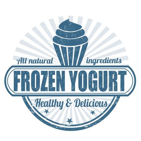 frozen food: Frozen yogurt grunge rubber stamp on white, vector illustration