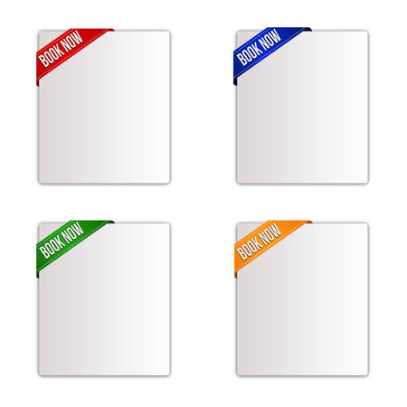 Set of paper tags for book now items in different colours, vector illustration Vector