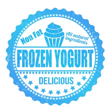 frozen yogurt: Frozen yogurt grunge rubber stamp on white, vector illustration