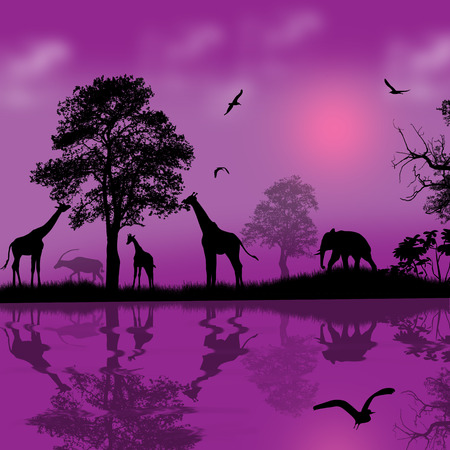 lila: Wild african animals silhouettes in beautiful sunset near water, vector illustration Illustration