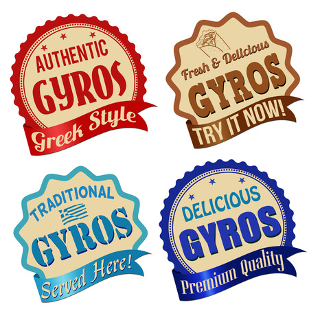 served: Promotional label, sticker or stamps for gyros on white, vector illustration