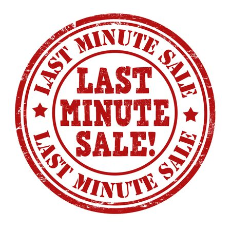 last minute: Last minute sale grunge rubber stamp on white, vector illustration