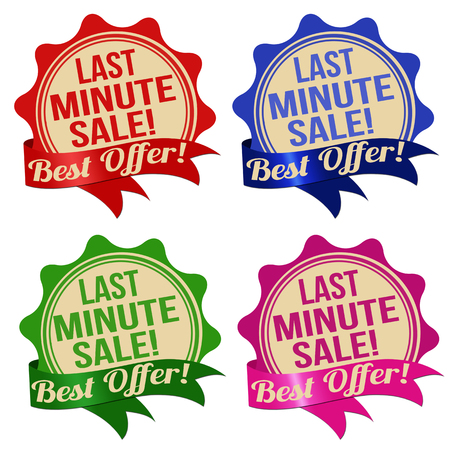 last minute: Promotional label, sticker or stamps for last minute sale in different colours on white, vector illustration