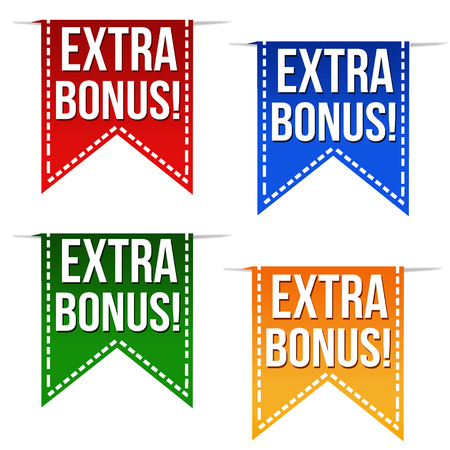 Extra bonus ribbons set in different colours on white, vector illustration Фото со стока - 29975169