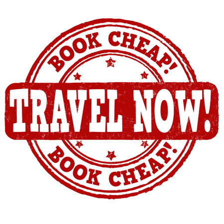 Book cheap, travel now grunge rubber stamp on white, vector illustration Vector
