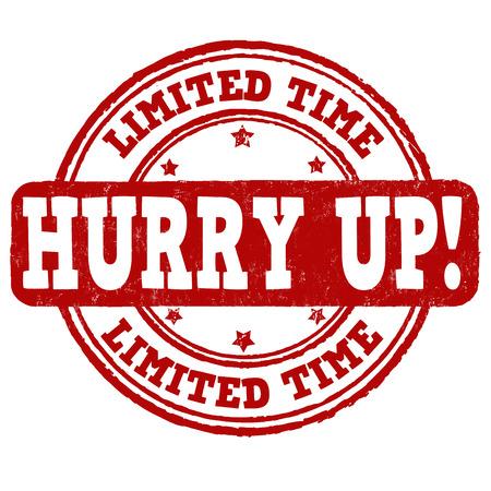 Durée limitée, dépêchez-grunge timbre en caoutchouc sur fond blanc, illustration vectorielle