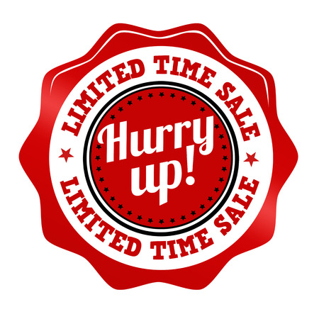 Etiqueta engomada promocional Rojo, icono, sello o etiqueta para la venta de tiempo limitado, date prisa en blanco, ilustración vectorial