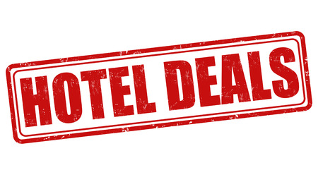 Hotel deals grunge rubber stamp on white, vector illustration