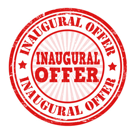 inaugural: Inaugural offer grunge rubber stamp on white, vector illustration
