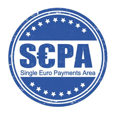 euro area: SEPA - Single Euro Payments Area grunge rubber stamp on white, vector illustration Illustration