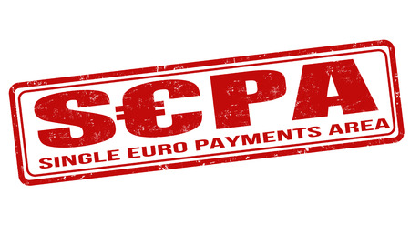 SEPA - Single Euro Payments Area Grunge-Stempel auf weiß, Vektor-Illustration