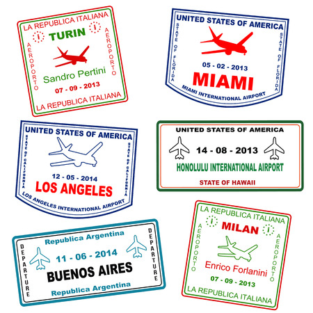 aires: Passport grunge stamps (not real passport stamps) from Turin, Miami, Los Angeles, Honolulu, Buenos Aires and Milan, vector illustration