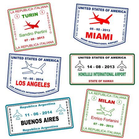 buenos aires: Passport Grunge Stempel (nicht wirklich Pass Briefmarken) aus Turin, Miami, Los Angeles, Honolulu, Buenos Aires und Mailand, Vektor-Illustration