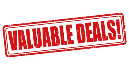 reduced value: Valuable deals grunge rubber stamp on white, vector illustration Illustration