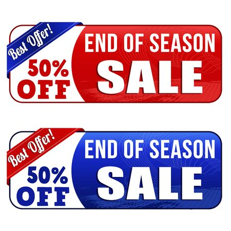 end of summer: End of season sale banners on white background, vector illustration