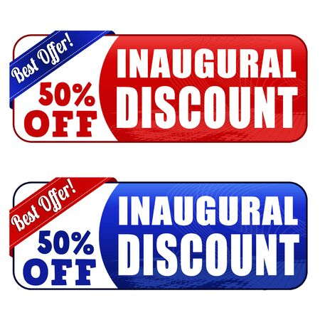 inaugural: Inaugural discount banners on white background, vector illustration