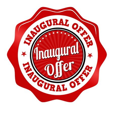 inaugural: Red promotional sticker, icon,stamp or label for inaugural offer on white, vector illustration