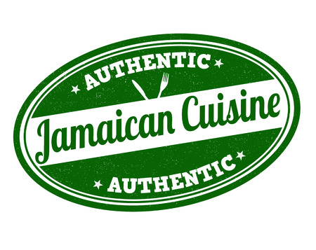 jamaican food: Jamaican cuisine grunge rubber stamp on white, vector illustration