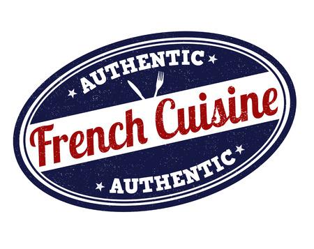 French cuisine grunge rubber stamp on white, vector illustration Vector
