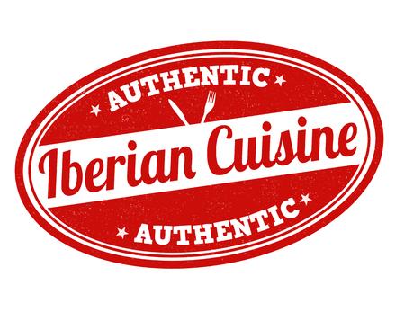 iberian: Iberian cuisine grunge rubber stamp on white, vector illustration Illustration